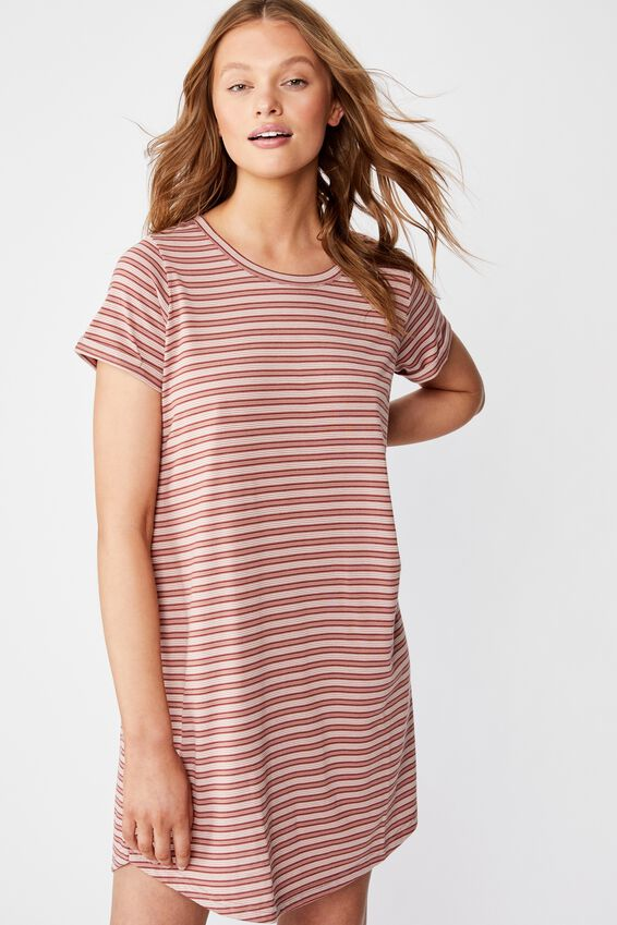 Tina Tshirt Dress 2, LEILA STRIPE BURLWOOD