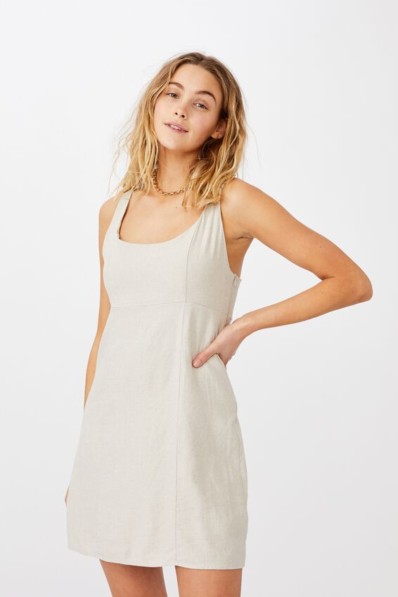 Woven Libby Strappy Mini Dress, FAWN