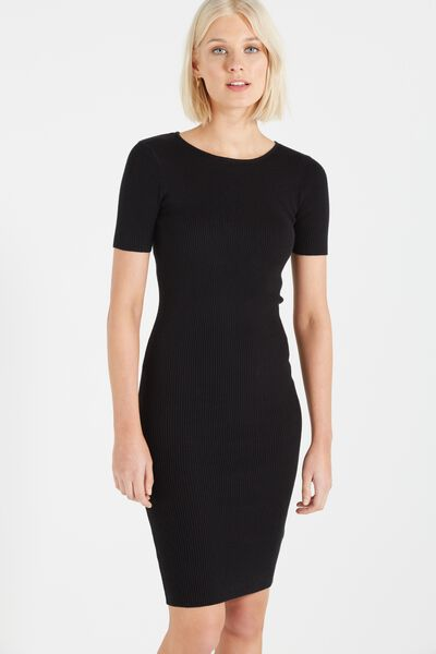 Louie Midi Bodycon Knit Dress, BLACK