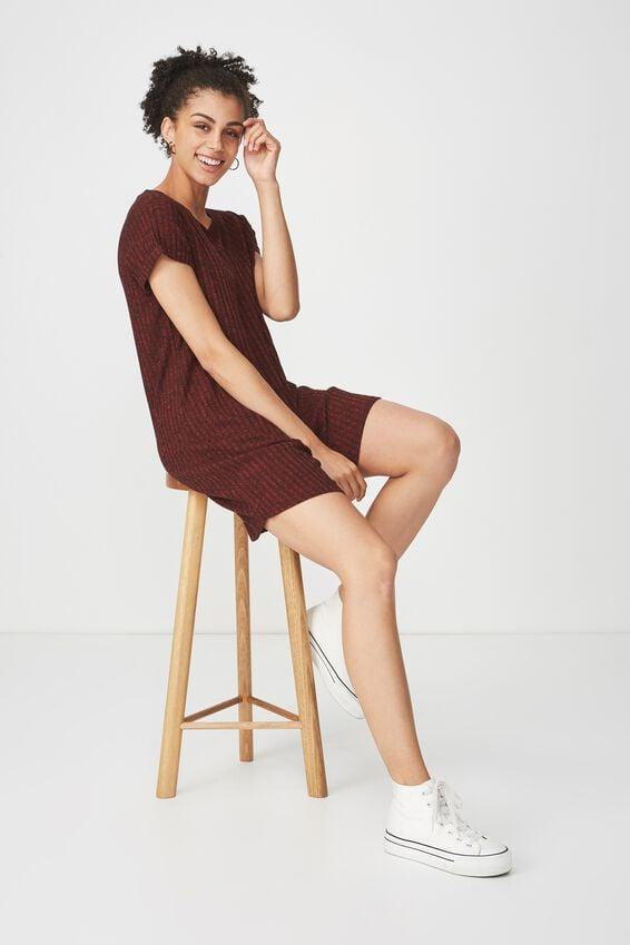 Tina Tshirt Dress 2, ROSEWOOD/BLACK RIB TWIST