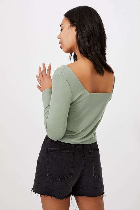 Serena Square Neck Long Sleeve Top, MOUNTAIN SAGE