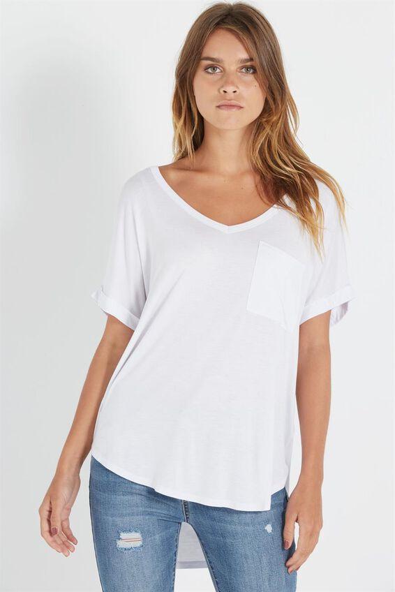 Karly Short Sleeve V Neck Top, WHITE