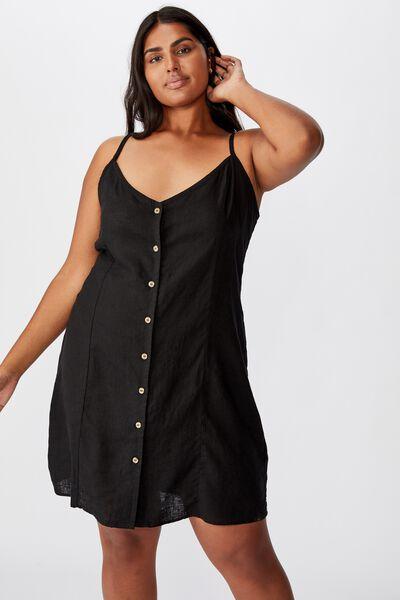 Curve Woven Maise Strappy Mini Dress, BLACK