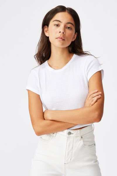 The Baby Sister Pointelle Tee, WHITE