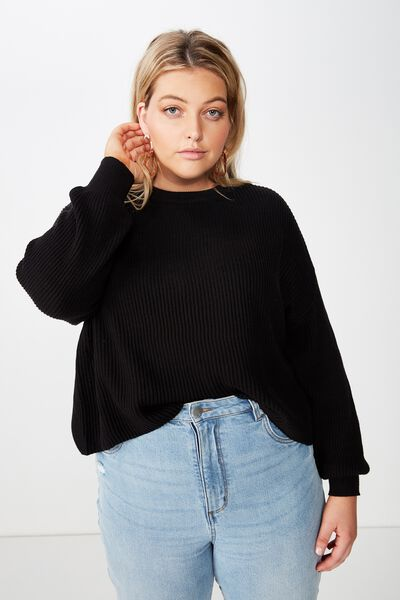 Curve Crop Pull Over, BLACK
