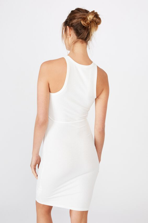 Kirsty Racerback Bodycon Midi Dress, CLOUD DANCER