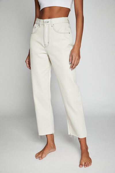 Straight Leg Jean, WORN WHITE