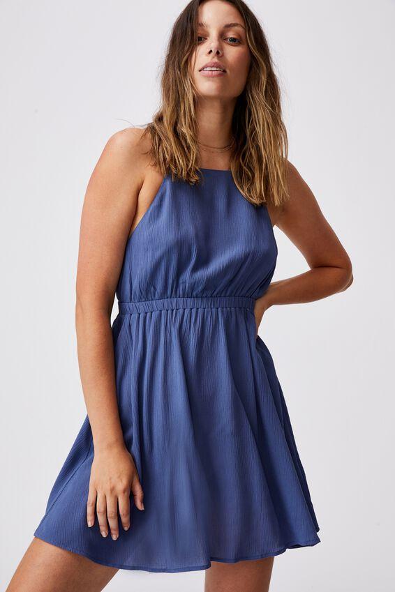 Woven Frenchie Open Back Mini, COASTAL BLUE