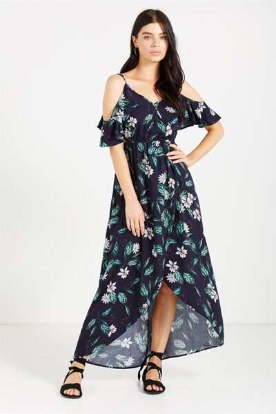 Woven Deb Cold Shoulder Maxi Dress, MAYA FLORAL MOOD INDIGO