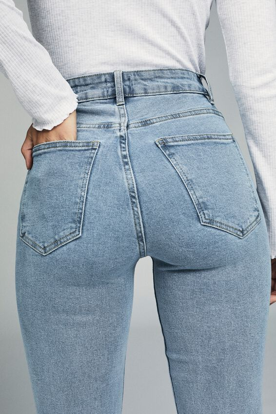 Stretch Mom Jean, STONEWASH BLUE