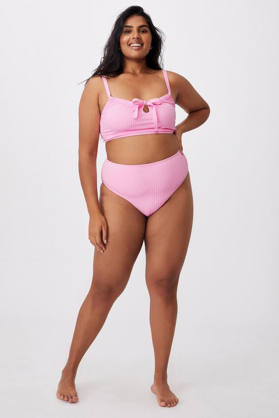 Curve High Waisted Full Bikini Bottom, STRAWBERRY RIB