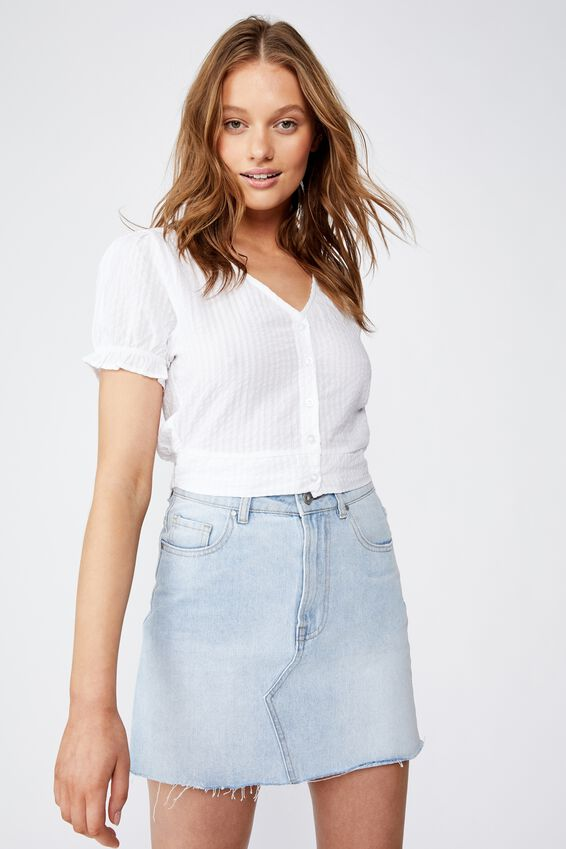 Lenny Puff Short Sleeve Top, WHITE