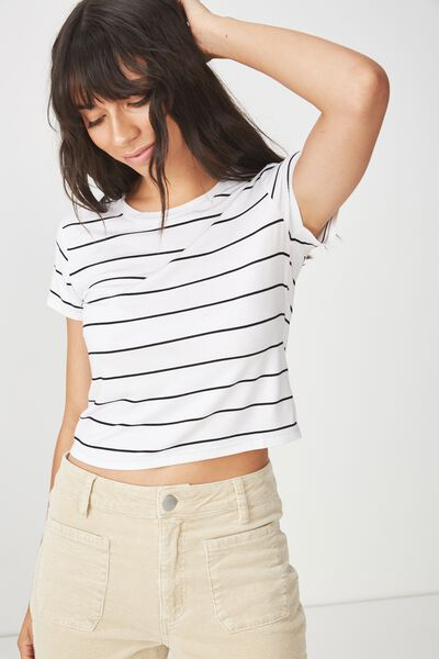 The Baby Tee, SAL STRIPE WHITE/BLACK