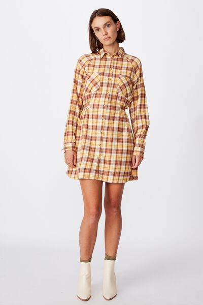 Woven Check Shirt Dress, ALEXA CHECK BAMBOO