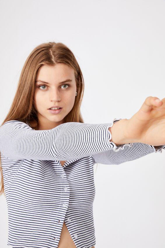 Cori Crop Button Through Cardi, MINI STRIPE WHITE/MOONLIGHT