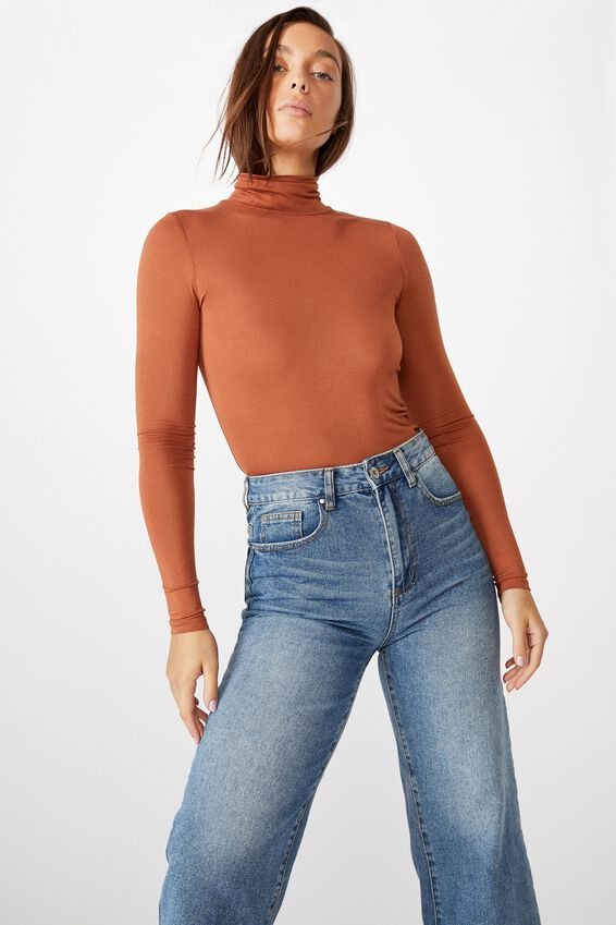 Sheer Vintage High Neck Long Sleeve Top, AMBER BROWN