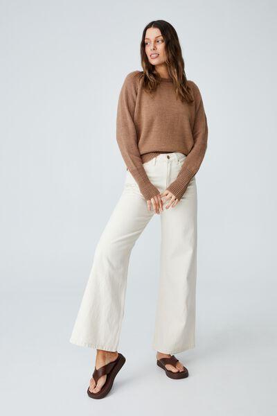 Australian Wool Blend Pullover, COCOA BEAN