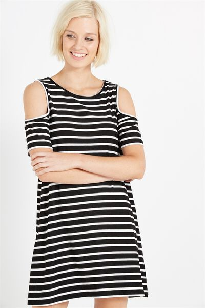 Leonie Cold Shoulder Dress, BLACK/WHITE MARIA STRIPE
