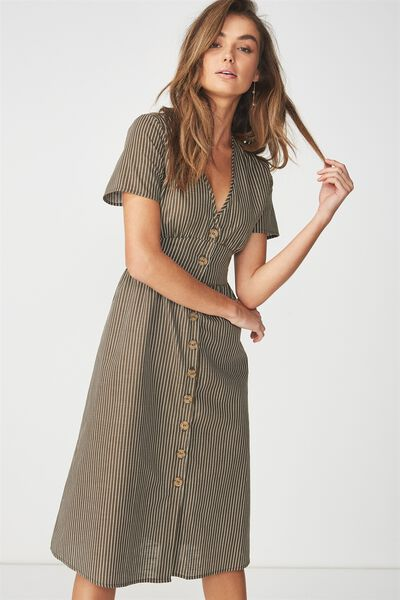 Woven Gigi Button Through Midi Dress, SALMA STRIPE BEECH/WHITE VERTICAL