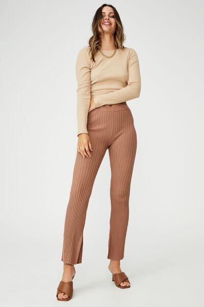 Rib Knit Side Split Pant, HERITAGE BROWN