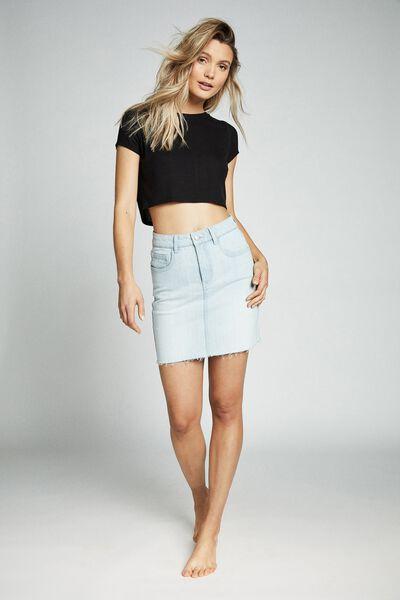 Classic Stretch Denim Mini Skirt, BONDI BLUE