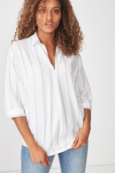 Bex Popover Shirt, BAMBI STRIPE GREY