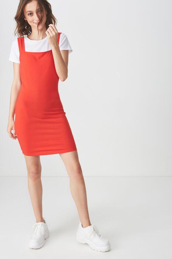 Peyton Square Neck Bodycon Mini Dress, FLAME SCARLET