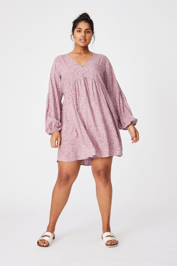 Curve Woven Linda Long Sleeve Mini Dress, SANDY LEOPARD LILAC