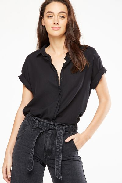 Cassie Short Sleeve Shirt, BLACK