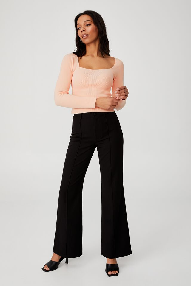 Ribbed Fashion Detail Long Sleeve, PALE PINK
