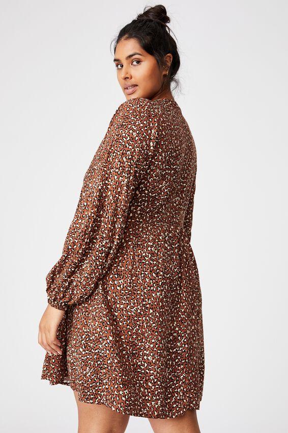 Curve Woven Linda Long Sleeve Mini Dress, SANDY LEOPARD CHOCOLATE