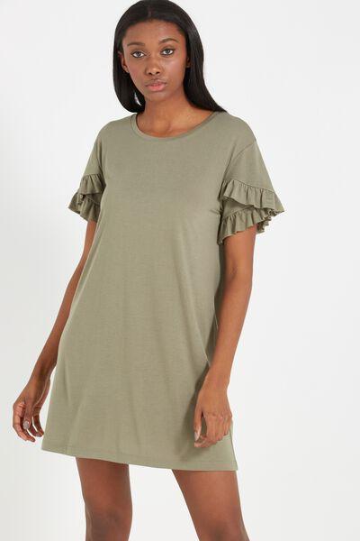 Hattie Ruffle Tshirt Dress, KHAKI