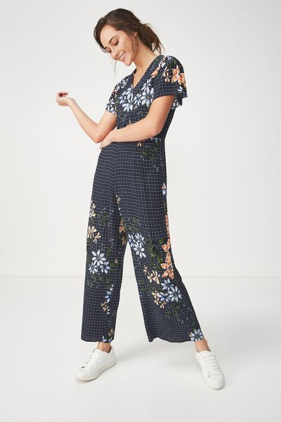 Woven Jordy Cap Sleeve Jumpsuit, TILLY GEO MOONLIGHT
