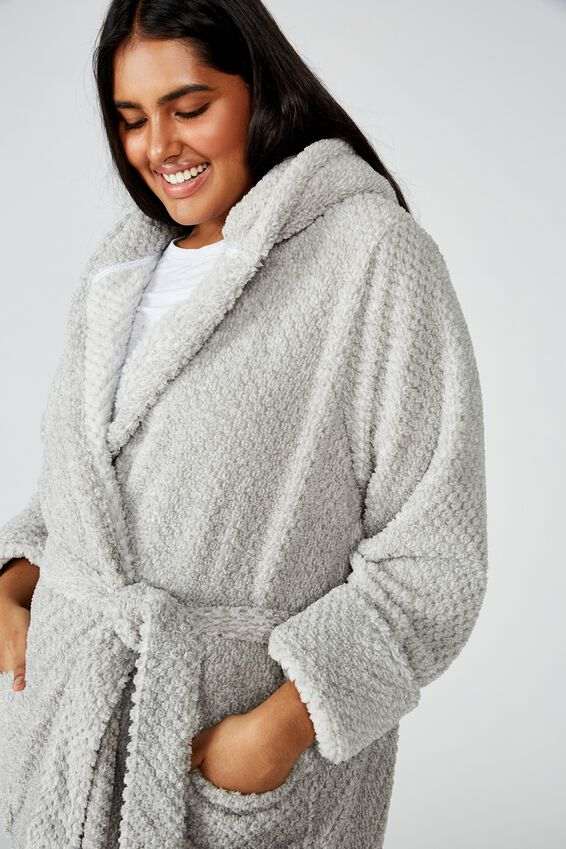 Curve Hooded Luxe Plush Gown, LIGHT GREY MARLE TEXTURED