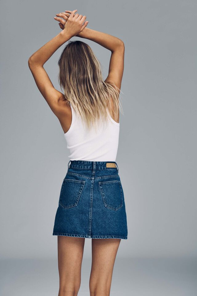 The Classic Denim Skirt, COOGEE BLUE