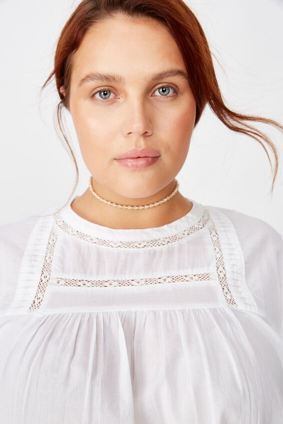 Curve Smock Lace Blouse, WHITE