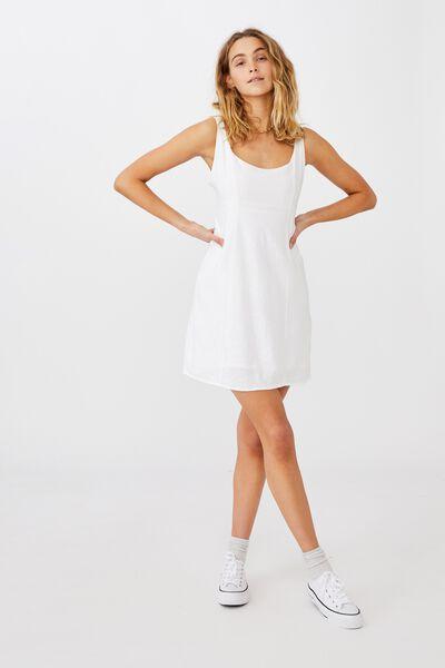 Woven Libby Strappy Mini Dress, WHITE