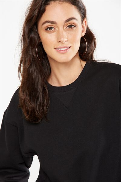 Tiff Chopped Batwing Sweater, BLACK