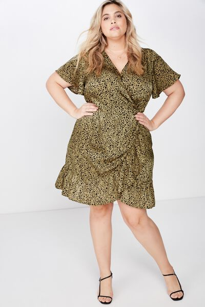 Curve Wrap Dress, PIPER ANIMAL LIGHT OLIVE BLACK