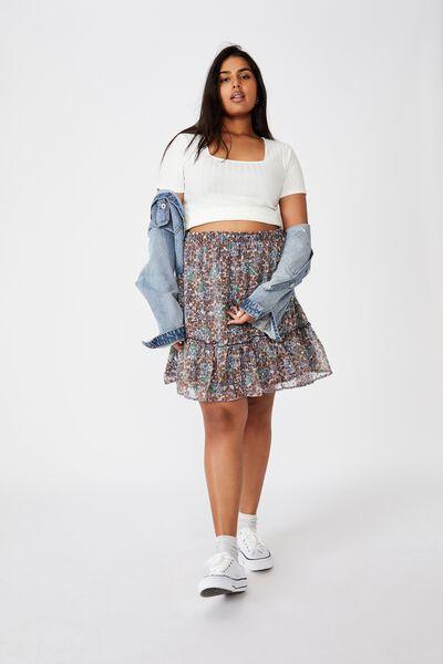 Curve Finley Mini Skirt, EMILY FLORAL PAISLEY WHITE