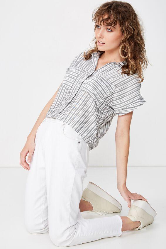 Emily Chopped Short Sleeve Shirt, DARK SAPPHIRE TEXTURED STRIPE