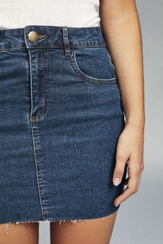 Classic Stretch Denim Mini Skirt, MID BLUE