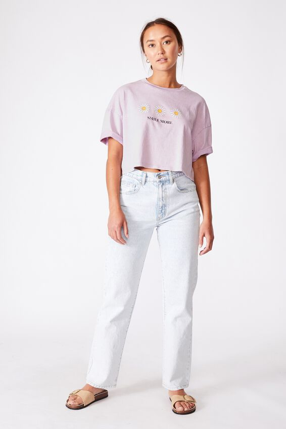 Chopped Boyfriend Lcn Tee, LCN SMI SMILE MORE DAISY/POWDER LILAC