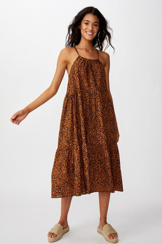 Woven Poppy Ruffle Edge Frill Midi Dress, HENLEY ANIMAL NEUTRAL