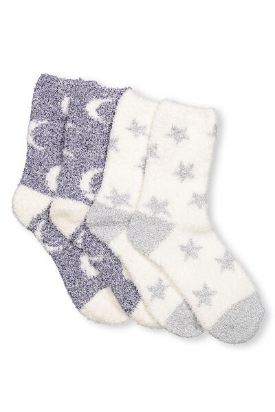 2Pk Cosy Lounge Sock, STARS AND MOON