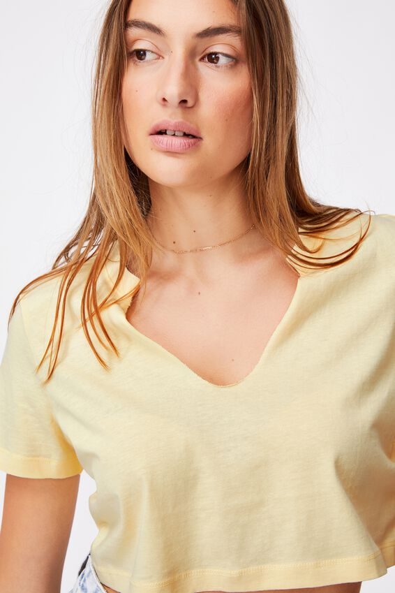 V Notch Tee, LEMON