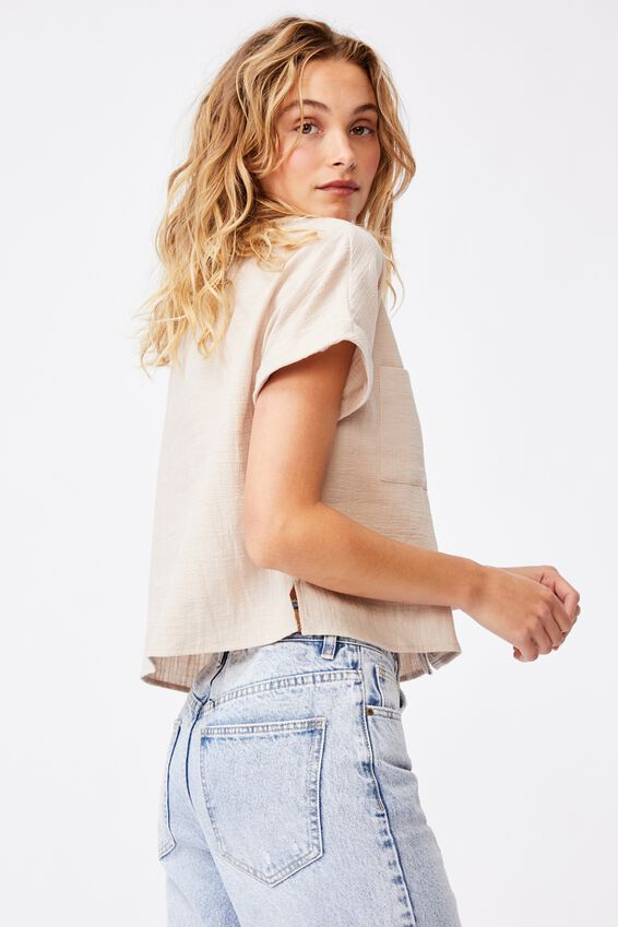 Erika Short Sleeve Shirt, TAUPE