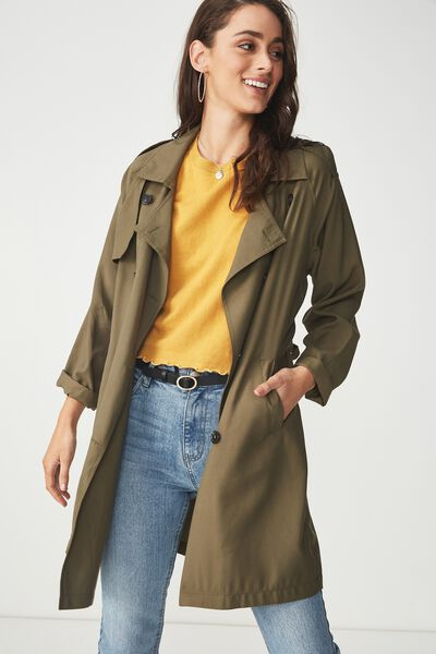 Hannah Soft Mid Trench, OLIVE