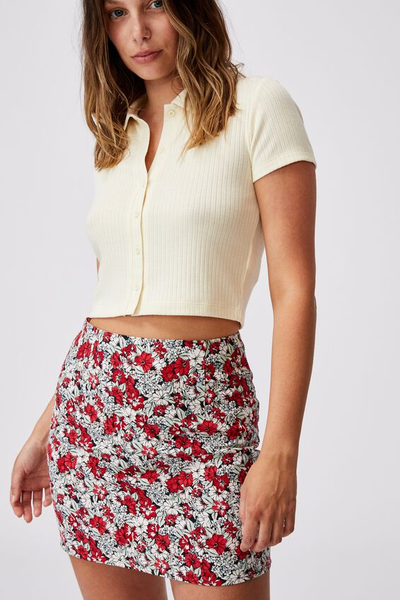 Ultimate A Line Mini Skirt, HANNAH FLORAL LUCKY RED