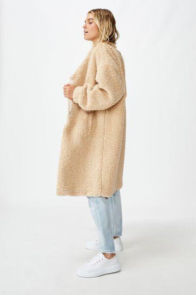 Teddy Longline Coat, CINNAMON